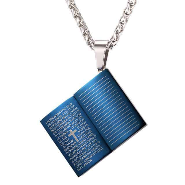 Holy Bible Necklace Gold Color Stainless Steel Pendant