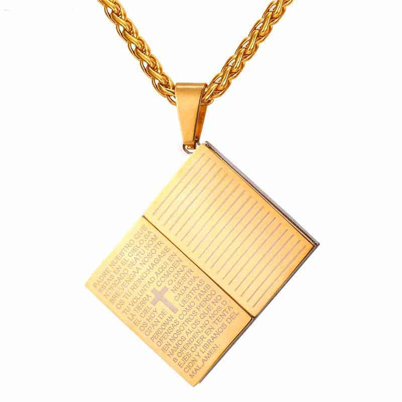 Holy Bible Necklace Gold Color Stainless Steel Pendant Amp Chain Mystical Breath
