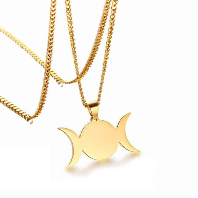 Triple Goddess Crescent Moon Pendant Necklace Mystical Breath