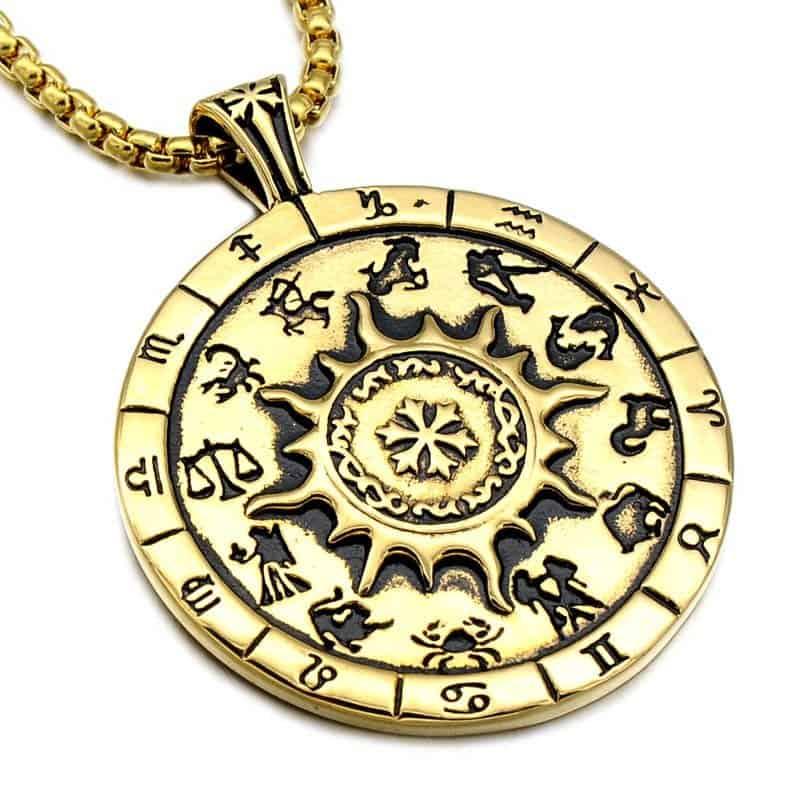 Sun God And 12 Zodiac Signs Necklace Mystical Breath