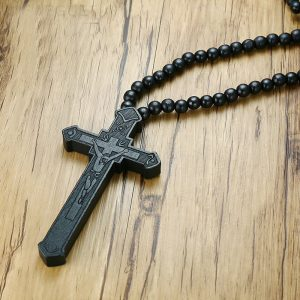 Wooden Cross with rosary