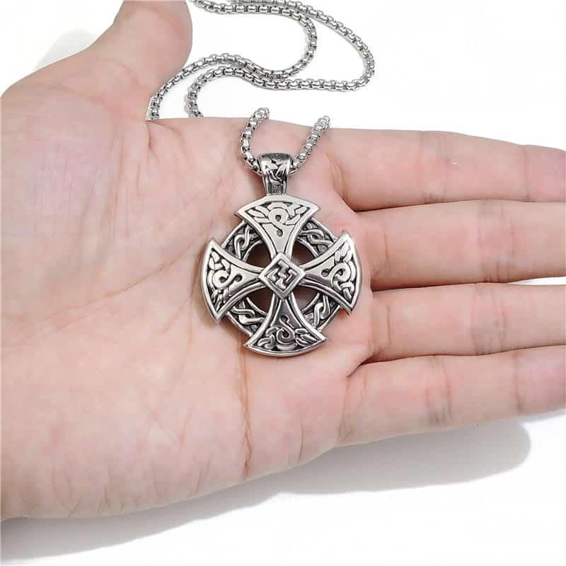 Celtic Silver Black Celtic Solar Cross Necklace Mystical Breath