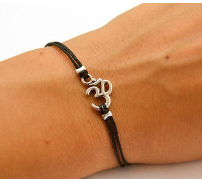 Hindu Aum Leather And Silver Plated Bracelet
