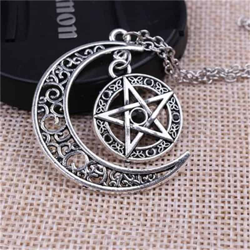 Witch Protection Amulet - Crescent Moon Pentagram