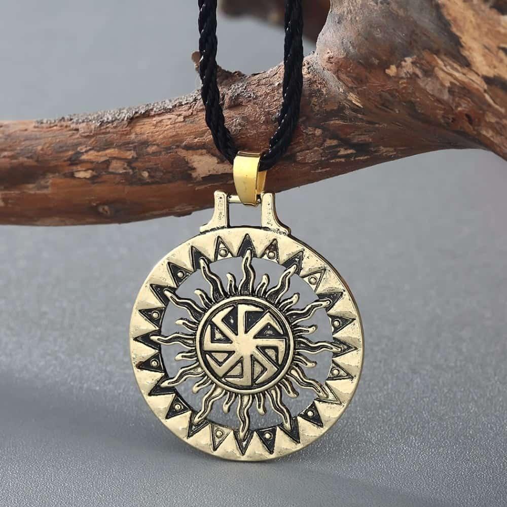 Pagan Kolovrat Sunwheel Handmade Pendant Necklace Amulet