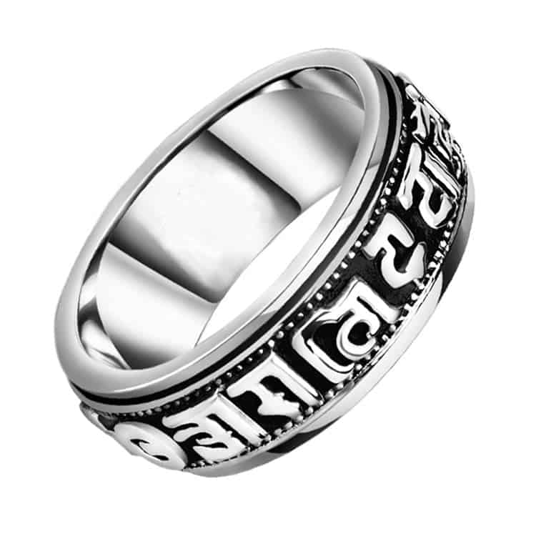 Tibetan Silver Rotating Blessing Ring - Mystical Breath