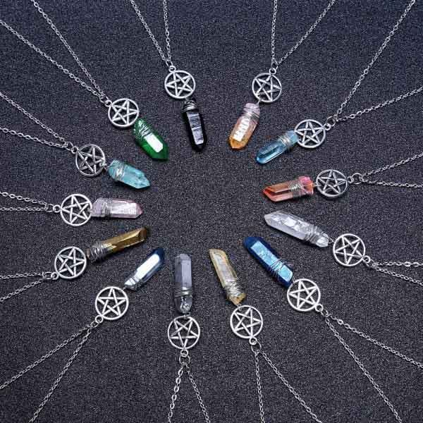 Wicca Quartz Rod Pendants