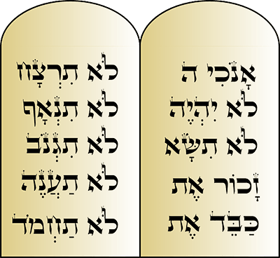 The Ten Commandments Hebrew Script