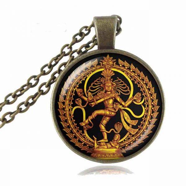 dancing shiva necklace bronze finish