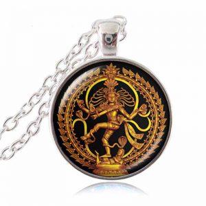 dancing shiva necklace silver finish