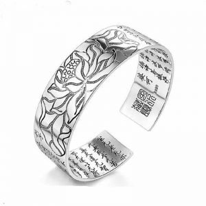 Buddhist Scripture Bracelet in Silver
