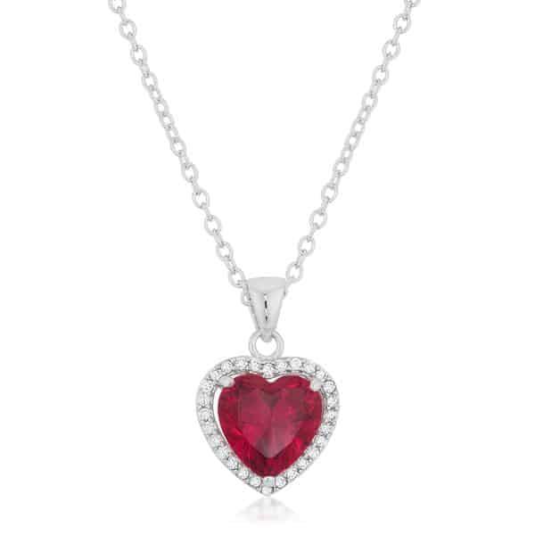 Garnet Red Heart Pendant