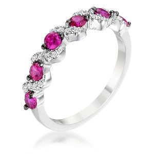 Rhodium and Hematite Plated Fuchsia Eternity Band