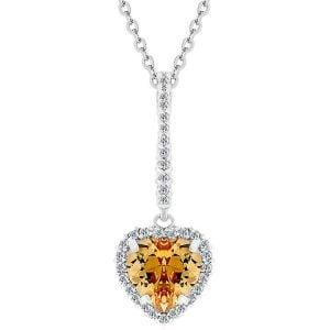 champagne Heart Drop Pendant