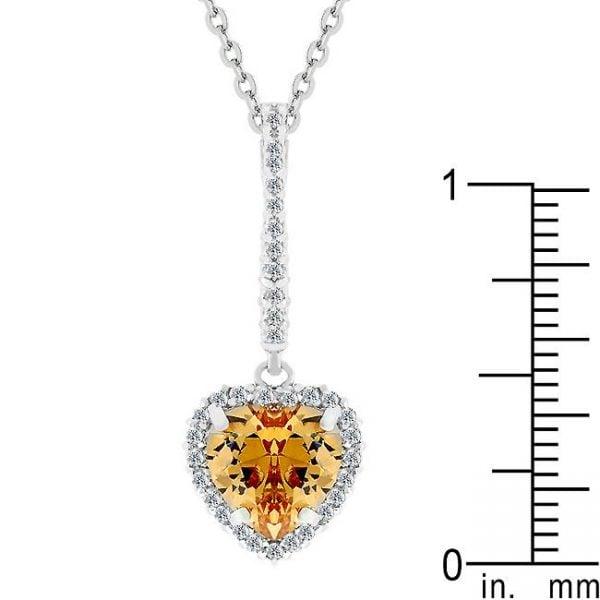champagne Heart Drop Pendant Size