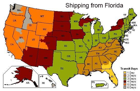 Delivery times for Gift Baskets across the USA
