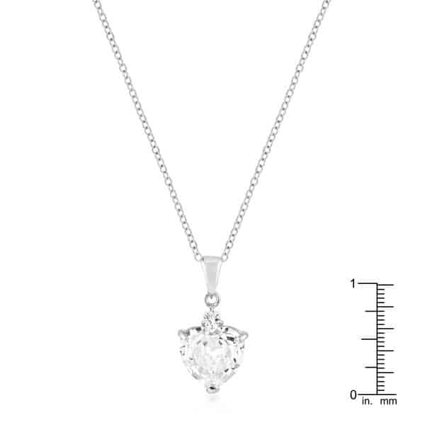 rhodium plated big heart pendant