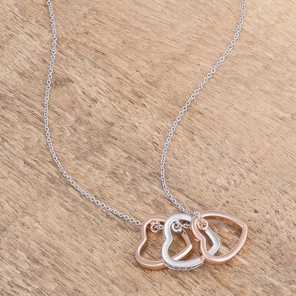 triple heart necklace two tone
